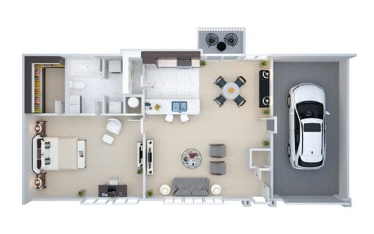 This 3D floor plan shows the V1 One Bedroom Downstairs Villa Townhouse at Crown Win River Apartments.