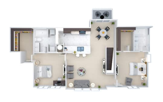 An overhead view of the 3D floor plan showing the V2 Two Bedroom Two Bath Villa Townhouse at Crown Win River Apartments in Tulsa Oklahoma