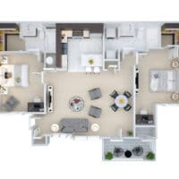 The floorplan for the B1 Two Bedroom Two Bath at Crown Win River Apartments in Tulsa Oklahoma.