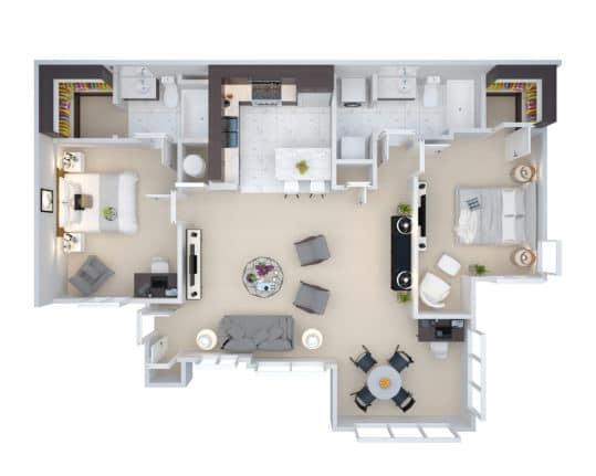 The floorplan for the B2 Two Bedroom Two Bath at Crown Win River Apartments in Tulsa Oklahoma.